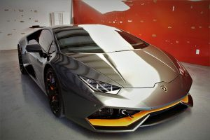Front-end image of a Lamborghini with gray paintwork