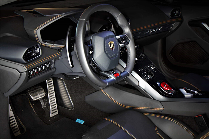 Beautiful work of the inside of a Lamborghini