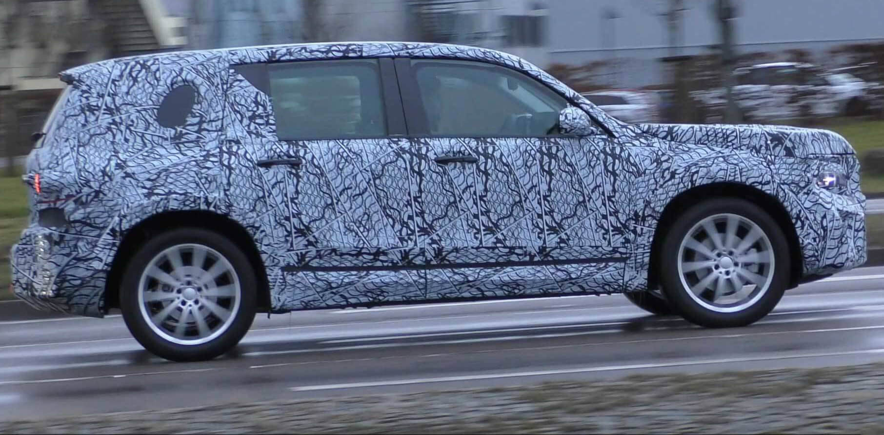 The new Mercedes-Benz GLB Class SUV Prototype On The Road