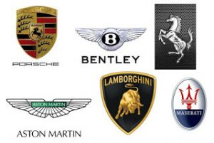 The logos of Porsche, Bentley, Ferrari, Aston Martin, Lamborghini and Maserati